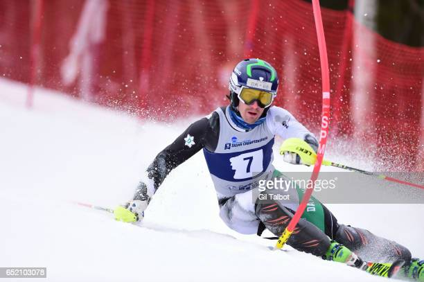 Thomas Woodson of Dartmouth competes during the Men's Slalom event at the Division I Men's and Women's Skiing Championships held at Cannon Mountain...