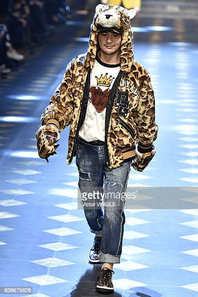 Thomas Ye walks the runway at the Dolce Gabbana show during Milan Men's Fashion Week Fall/Winter 2017/18 on January 14 2017 in Milan Italy