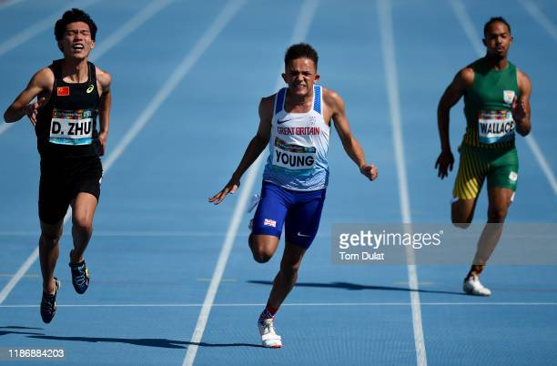 Thomas Young of Great Britain competes during the Men's 100m T38 Round 1 race on Day Five of the IPC World Para Athletics Championships 2019 Dubai on...