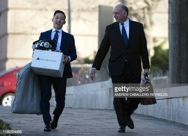 TOPSHOT Thomas Zehnle lawyer for former Trump campaign chairman Paul Manafort arrives at the US District Court in Washington DC on March 13 2019 Paul...