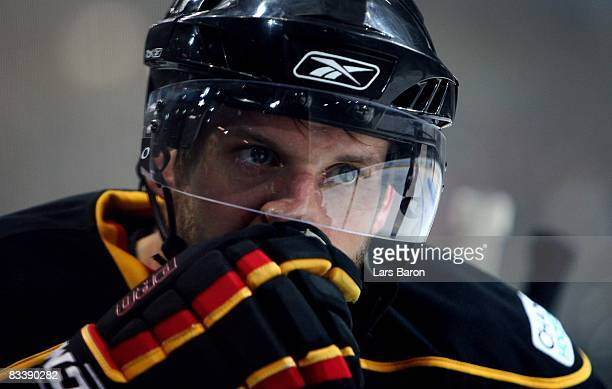 Thomas Ziegler of Bern looks dejected during the IIHF Champions Hockey League match between SC Bern and Espoo Blues at the PostFinance Arena on...