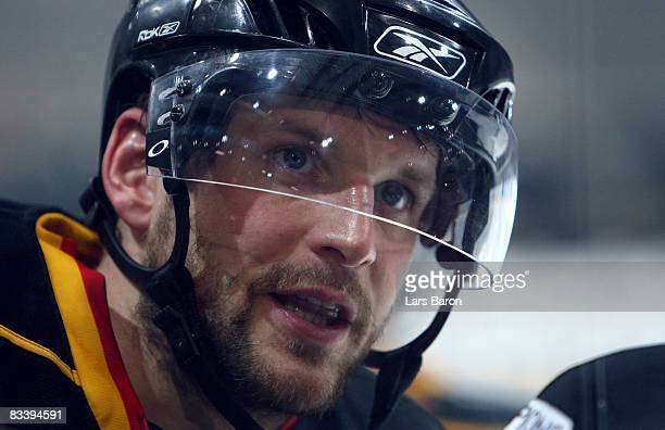 Thomas Ziegler of Bern looks on during the IIHF Champions Hockey League match between SC Bern and Espoo Blues at the PostFinance Arena on October 22,...
