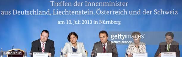 Thomas Zwiefelhofer minister for interior affairs justice and economy of Liechtenstein Austrian interior minister Johanna MiklLeitner German interior...