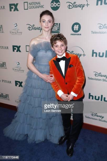 Thomasin McKenzie and Roman Griffin Davis attends The Walt Disney Company 2020 Golden Globe Awards PostShow Celebration at The Beverly Hilton Hotel...
