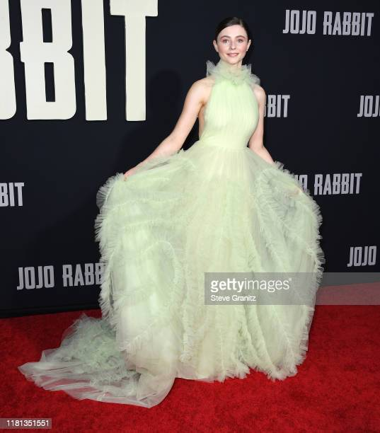Thomasin McKenzie arrives at the Premiere Of Fox Searchlights' Jojo Rabbit at Post 43 on October 15 2019 in Los Angeles California