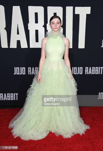 Thomasin McKenzie attends the premiere of Fox Searchlights' Jojo Rabbit at Post 43 on October 15 2019 in Los Angeles California