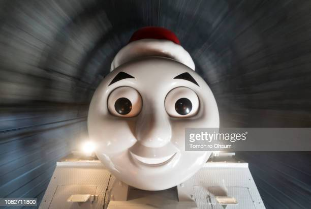 Thomas the Tank Engine travels in a tunnel during a preview of the Day out with Thomas 2018 Christmas event on December 14 2018 in Shimada Shizuoka...