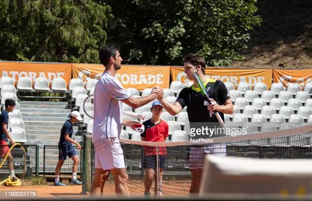 Thomaz Bellucci and Thiago Seyboth Wild during the match between Thiago Seyboth Wild v Thomaz Bellucci at the Internazionali di Tennis Citta'...