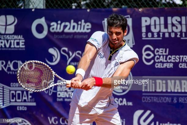 Thomaz Bellucci during the match between Thiago Seyboth Wild v Thomaz Bellucci at the Internazionali di Tennis Citta' dell'Aquila in L'Aquila Italy...