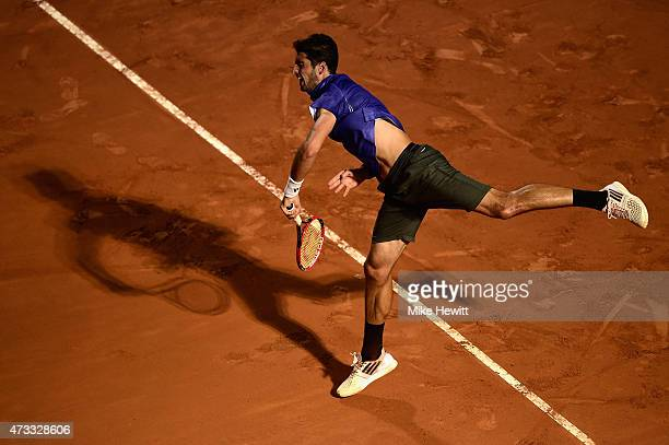 Thomaz Bellucci of Brazil in action during his Third Round match against Novak Djokovic of Serbia on Day Five of The Internazionali BNL d'Italia 2015...