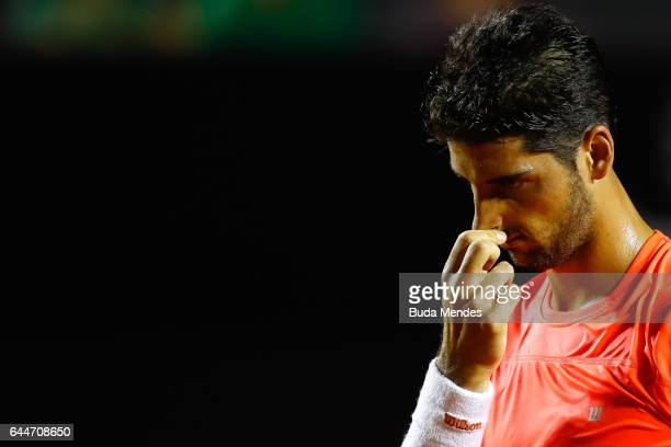 Thomaz Bellucci of Brazil laments lost a point against Thiago Monteiro of Brazil during the ATP Rio Open 2017 at Jockey Club Brasileiro on February...