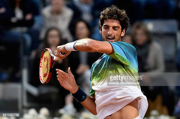 Thomaz Bellucci of Brazil plays a forehand in his match against Novak Djokovic of Serbia on Day Five of The Internazionali BNL d'Italia on May 12...
