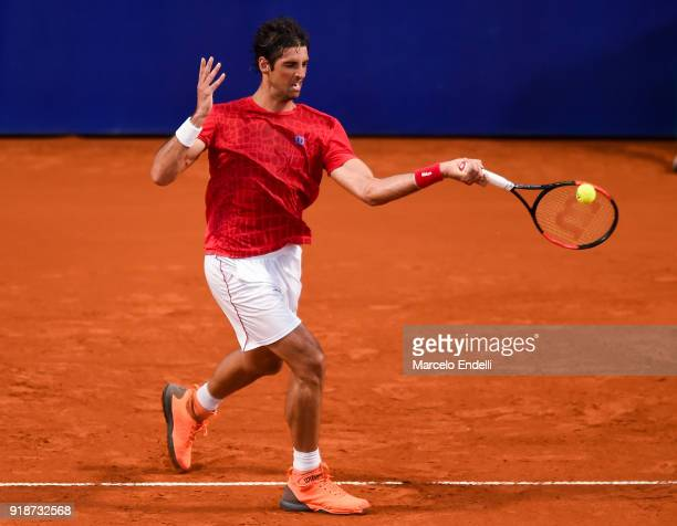 Thomaz Bellucci of Brazil takes a forehand shot during a second round match between Diego Schwartzman of Argentina and Thomaz Bellucci of Brazil as...