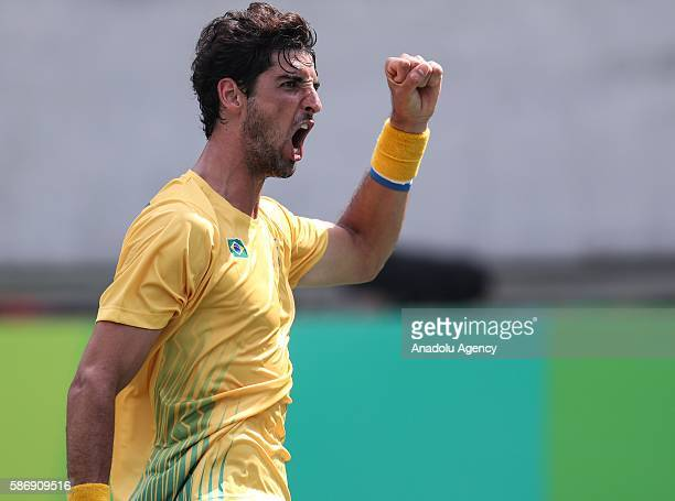 Thomaz Belluci of Brazil gestures during the tennis match of the Rio 2016 Olympic Games against German tennis player Brown Dustin in Rio de Janeiro...