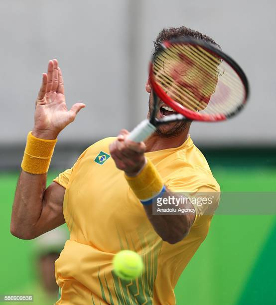 Thomaz Belluci of Brazil in action against German tennis player Brown Dustin during the tennis match of the Rio 2016 Olympic Games in Rio de Janeiro...