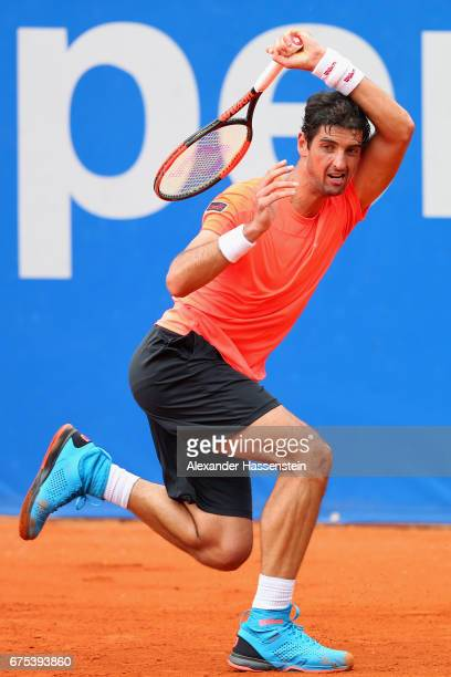 Thomaz Belucci of Brazil in action his match against Mikhail Kukushkin of Kazakhstan during the 102 BMW Open by FWU at Iphitos tennis club on May 1...