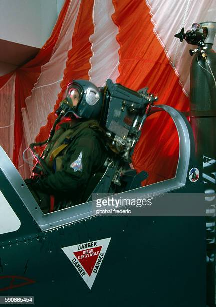 Thomson ejector seat training simulator on a 'Mirage 2000' fighter plane manufactured by DassaultAviation at an army air base during the Provence air...
