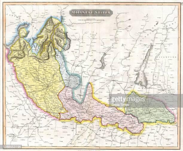 Thomson Map of the Milanese States, Milan, Mantua, Alto Po , Italy, John Thomson, 1777 - 1840, was a Scottish cartographer from Edinburgh, UK.
