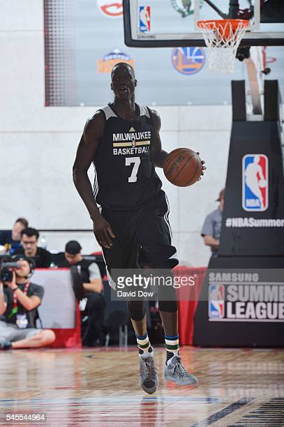 Thon Maker of Milwaukee Bucks handles the ball against the Cleveland Cavaliers during the 2016 NBA Las Vegas Summer League game on July 8 2016 at the...