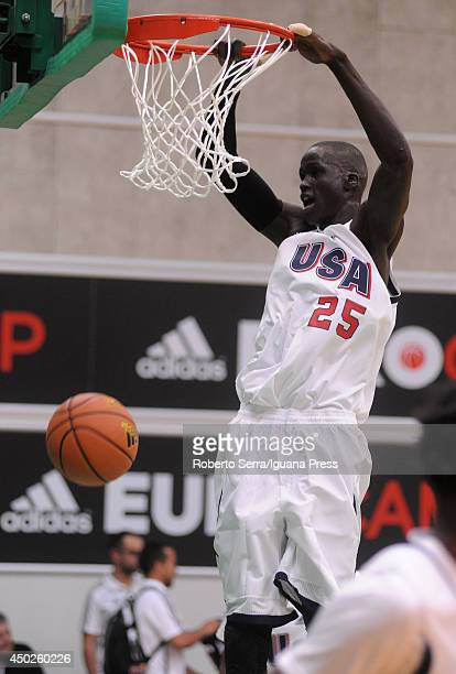 Thon Maker of team USA dunks during adidas Eurocamp day one at La Ghirada sports center on June 7 2014 in Treviso Italy