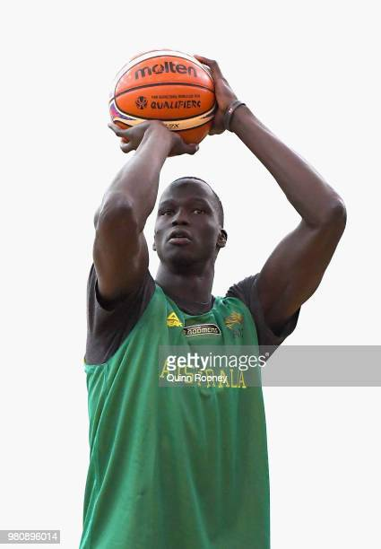 Thon Maker of the Boomers shoots during an Australian Boomers training session at Melbourne Sports and Aquatic Centre on June 22 2018 in Melbourne...