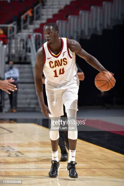 Thon Maker of the Cleveland Cavaliers dribbles the ball during the game against the Utah Jazz on January 12, 2021 at Rocket Mortgage FieldHouse in...