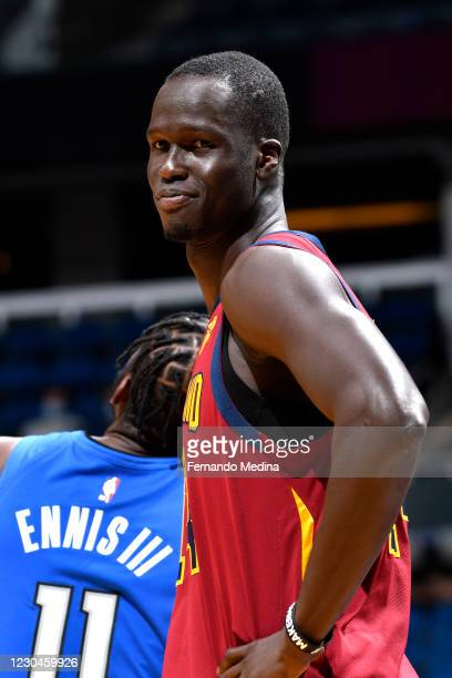 Thon Maker of the Cleveland Cavaliers smiles during the game against the Orlando Magic on January 6, 2021 at Amway Center in Orlando, Florida. NOTE...