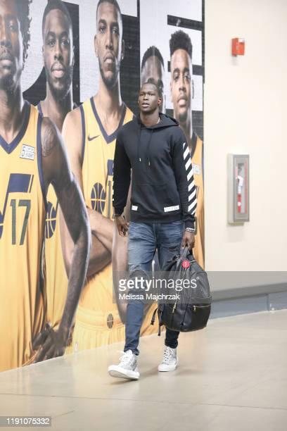 Thon Maker of the Detroit Pistons arrives to the game against the Utah Jazz on December 30, 2019 at Vivint Smart Home Arena in Salt Lake City, Utah....
