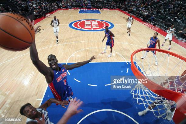 Thon Maker of the Detroit Pistons attempts to block the shot of Buddy Hield of the Sacramento Kings on January 22, 2020 at Little Caesars Arena in...