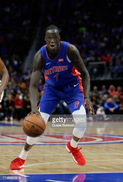 Thon Maker of the Detroit Pistons drives against the Milwaukee Bucks during the first half of Game Three of the first round of the 2019 NBA Eastern...