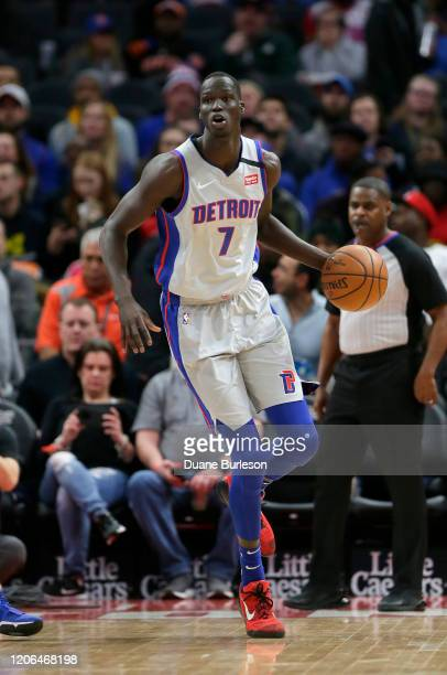 Thon Maker of the Detroit Pistons during the first half of a game against the New York Knicks at Little Caesars Arena on February 8 in Detroit...