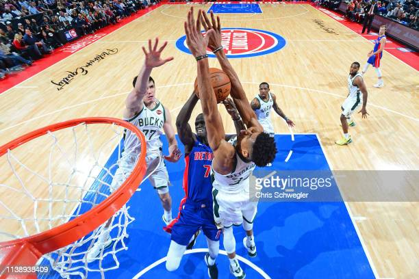 Thon Maker of the Detroit Pistons goes to the basket against Giannis Antetokounmpo of the Milwaukee Bucks during Game Four of Round One of the 2019...