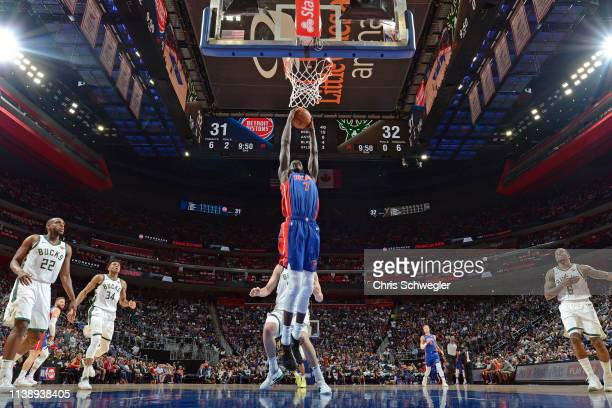 Thon Maker of the Detroit Pistons goes to the basket against the Milwaukee Bucks during Game Four of Round One of the 2019 NBA Playoffs on April 22...
