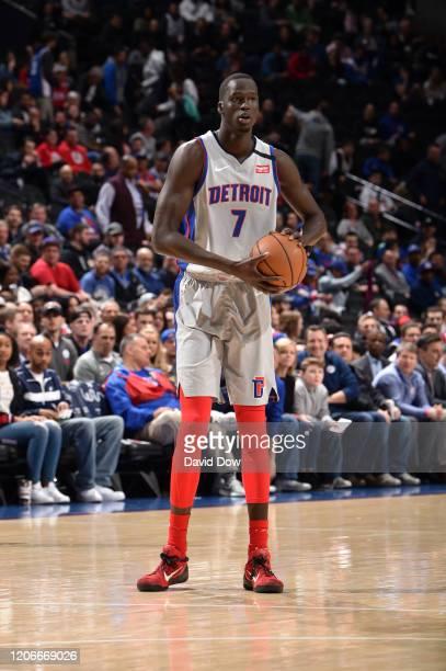 Thon Maker of the Detroit Pistons handles the ball against the Philadelphia 76ers on March 11, 2020 at the Wells Fargo Center in Philadelphia,...
