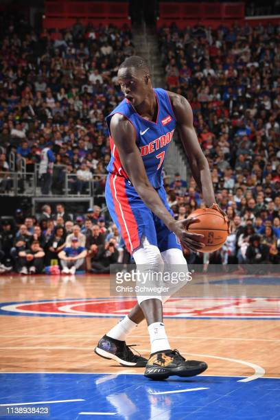 Thon Maker of the Detroit Pistons handles the ball against the Milwaukee Bucks during Game Four of Round One of the 2019 NBA Playoffs on April 22...