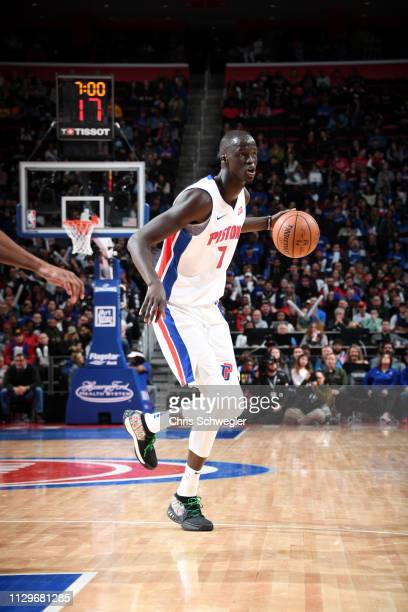 Thon Maker of the Detroit Pistons handles the ball against the Chicago Bulls on March 10, 2019 at Little Caesars Arena in Detroit, Michigan. NOTE TO...