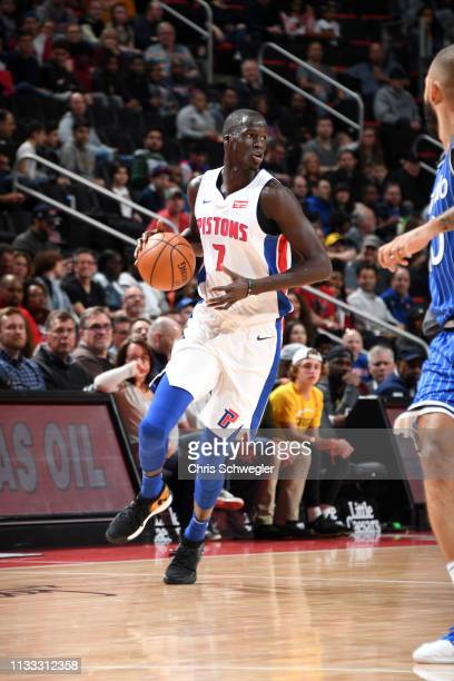 Thon Maker of the Detroit Pistons handles the ball against the Orlando Magic on March 28, 2019 at Little Caesars Arena in Detroit, Michigan. NOTE TO...