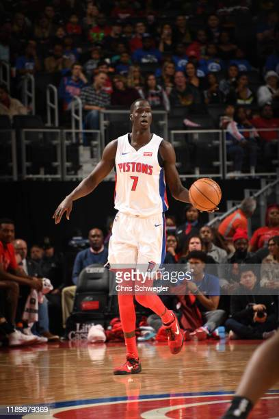 Thon Maker of the Detroit Pistons handles the ball during a game against the Chicago Bulls on December 21, 2019 at Little Caesars Arena in Detroit,...