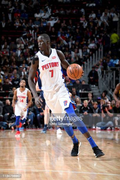 Thon Maker of the Detroit Pistons handles the ball during the game against the Indiana Pacers on April 3, 2019 at Little Caesars Arena in Detroit,...