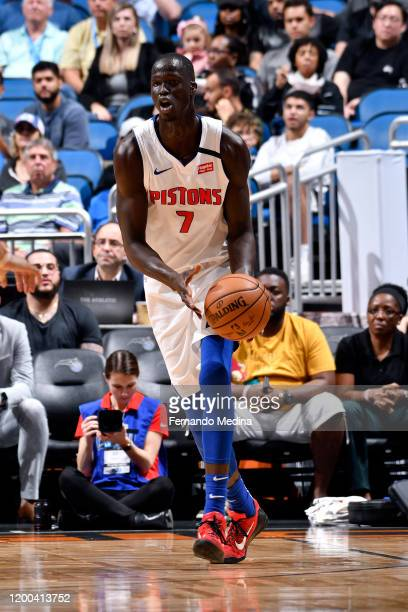 Thon Maker of the Detroit Pistons handles the ball during the game against the Orlando Magic on February 12, 2020 at Amway Center in Orlando,...
