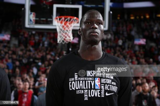 Thon Maker of the Detroit Pistons looks on before the game against the Portland Trail Blazers on February 23 , 2020 at the Moda Center Arena in...