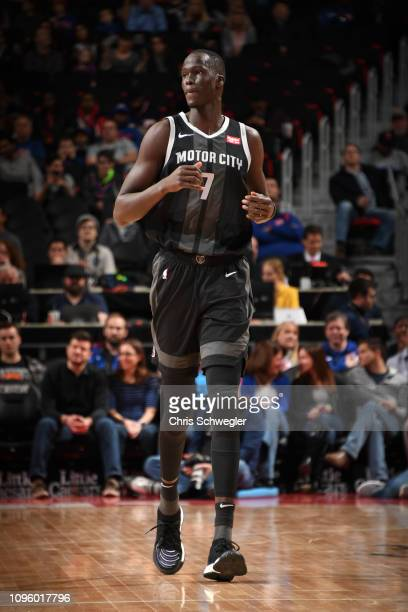 Thon Maker of the Detroit Pistons looks on during a game against the New York Knicks on February 8 2019 at Little Caesars Arena in Detroit Michigan...