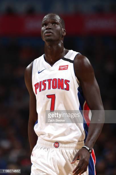 Thon Maker of the Detroit Pistons looks on during the game against the Oklahoma City Thunder on February 7, 2020 at Chesapeake Energy Arena in...