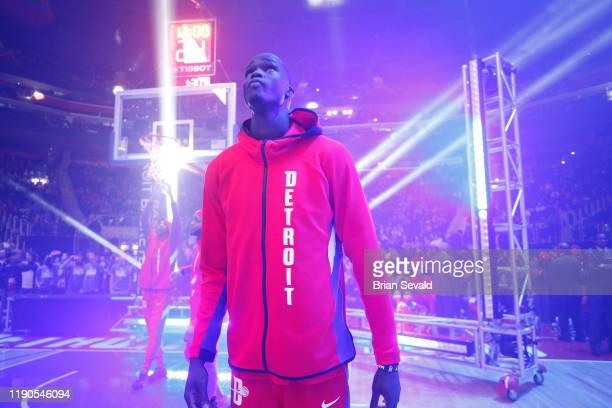 Thon Maker of the Detroit Pistons looks on prior to a game against the Washington Wizards on December 26, 2019 at Little Caesars Arena in Detroit,...