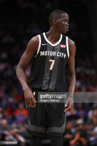 Thon Maker of the Detroit Pistons looks on while playing the New York Knicks during the second half at Little Caesars Arena on February 08 2019 in...