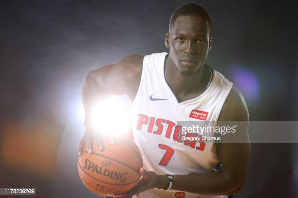 Thon Maker of the Detroit Pistons poses for a portrait during the Detroit Pistons Media Day at Pistons Practice Facility on September 30, 2019 in...