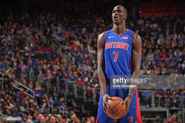 Thon Maker of the Detroit Pistons shoots a free throw against the Milwaukee Bucks during Game Three of Round One of the 2019 NBA Playoffs on April...