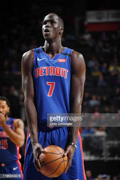 Thon Maker of the Detroit Pistons shoots a free throw during the game against the Sacramento Kings on January 22, 2020 at Little Caesars Arena in...