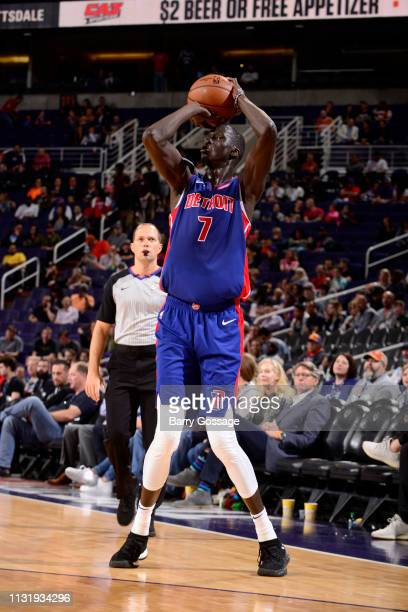 Thon Maker of the Detroit Pistons shoots a three point basket during the game against the Phoenix Suns on March 21, 2019 at Talking Stick Resort...