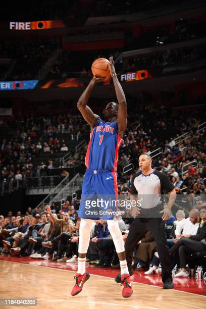 Thon Maker of the Detroit Pistons shoots the ball against the Atlanta Hawks on November 22, 2019 at Little Caesars Arena in Detroit, Michigan. NOTE...